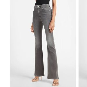 NWT High Waist Luxe Comfort Knit Gray Flare Jeans
